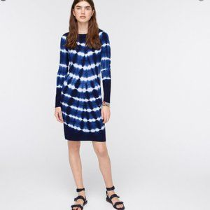J.Crew Long-sleeve tie-dye cashmere crewneck dress